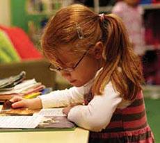 girl is writing
